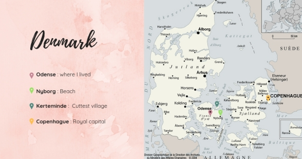 carte légendée du Danemark